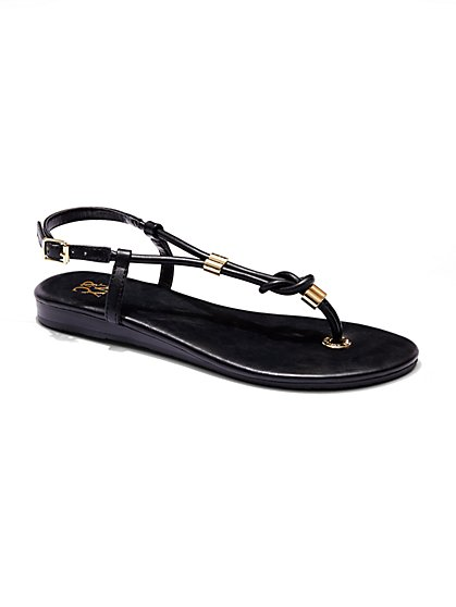 Knot-Accent T-Strap Sandal  - New York & Company