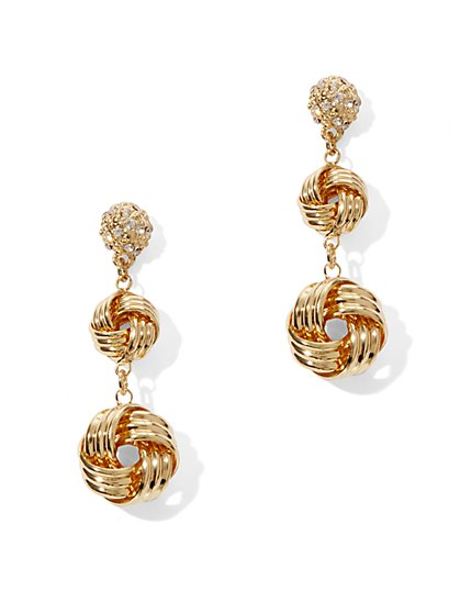 Knot Double Drop Earrings  - New York & Company