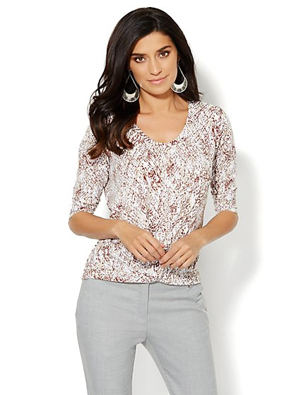 Knotted Scoopneck Top - Python Print  - New York & Company