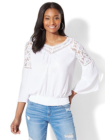 Lace-Accent Bell-Sleeve Blouse - New York & Company