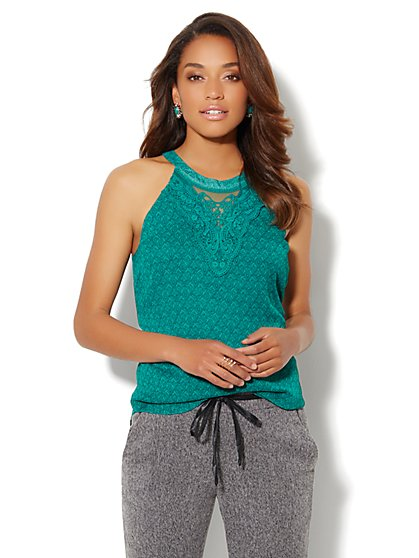 Lace-Accent Halter Shell - New York & Company