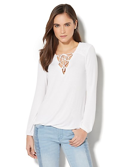 Lace-Accent Lace-Up Top - New York & Company