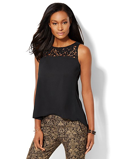 Lace-Accent Pleated Shell   - New York & Company