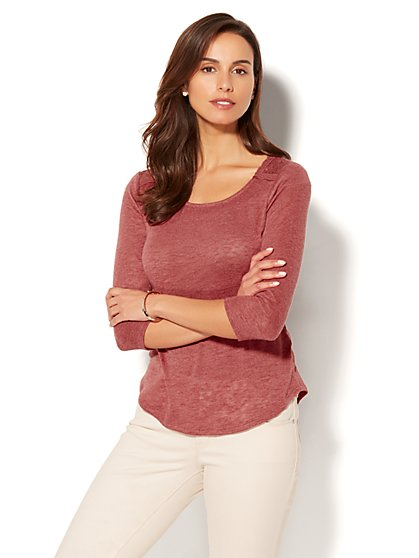Lace-Accent Scoopneck Top - New York & Company