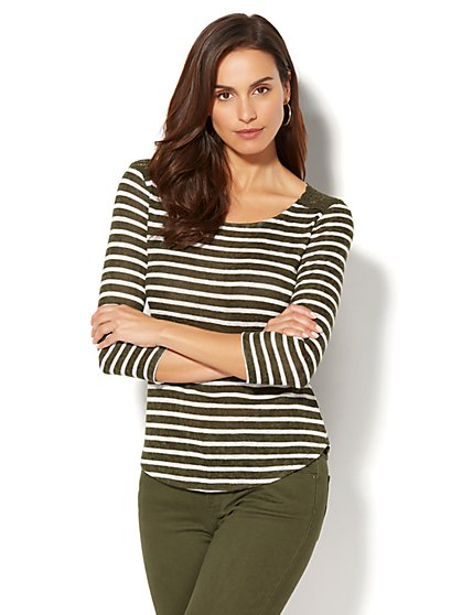 Lace-Accent Striped Top - New York & Company