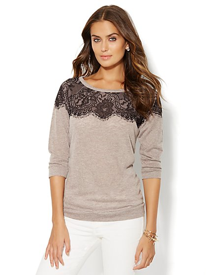 Lace-Accent Sweatshirt  - New York & Company