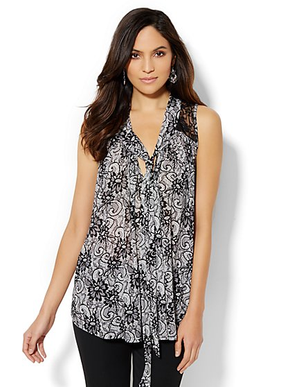 Lace-Accent Tie-Neck Top - Print - New York & Company