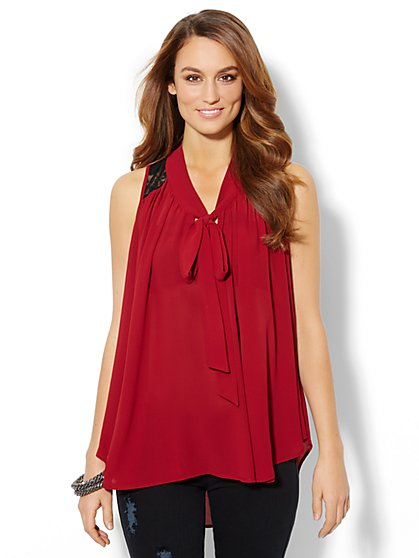 Lace-Accent Tie-Neck Top  - New York & Company