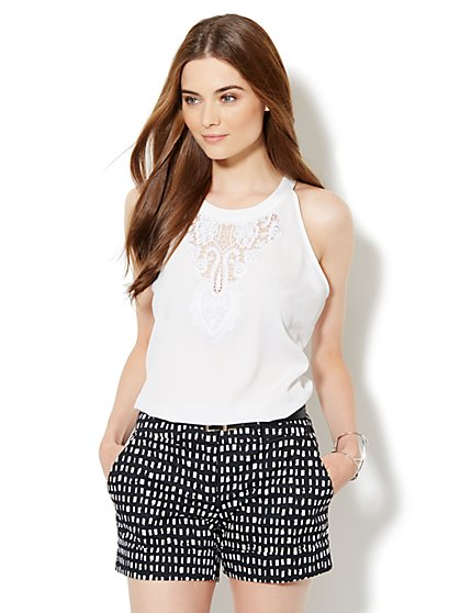 Lace-Applique Halter Blouse