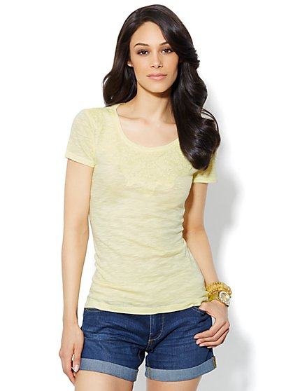 Lace-Applique Tee - New York & Company