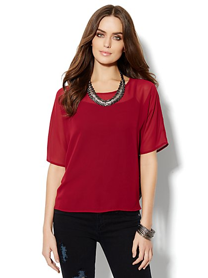 Lace-Back Chiffon Top  - New York & Company