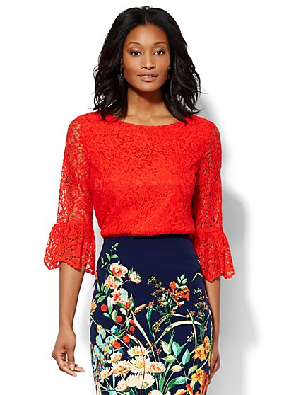 Lace Bell-Sleeve Blouse  - New York & Company
