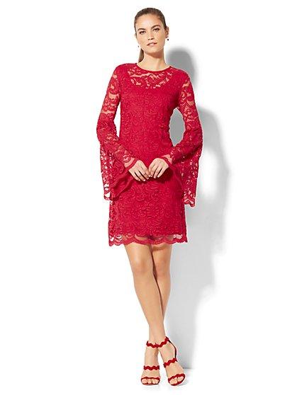 Lace Bell-Sleeve Dress - Petite - New York & Company