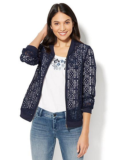Lace Bomber Jacket - New York & Company