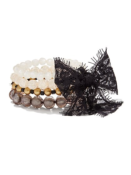 Lace Bow Beaded Stretch Bracelet  - New York & Company
