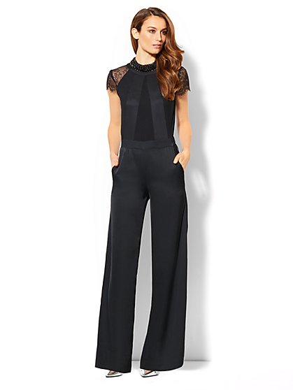 Lace Cap-Sleeve Silky Jumpsuit  - New York & Company
