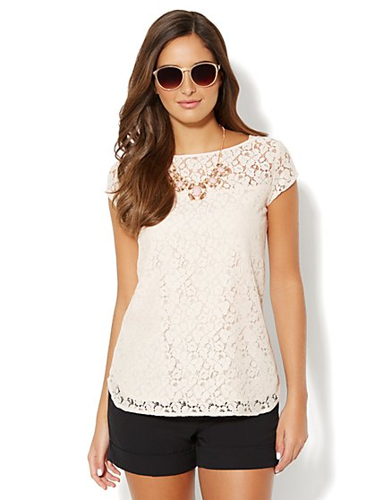 Lace Cap-Sleeve Top