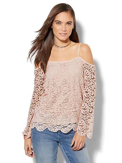 Lace Cold-Shoulder Bell-Sleeve Top - New York & Company