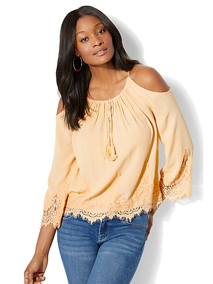Lace Cold-Shoulder Blouse - New York & Company