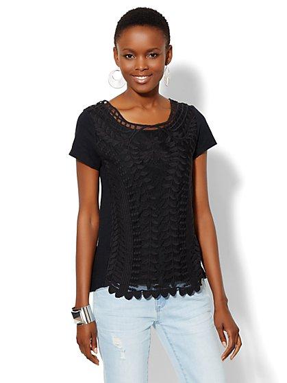 Lace Crochet Panel Short-Sleeve Top - New York & Company
