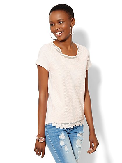 Lace Crochet Panel Short-Sleeve Top - New York & Company