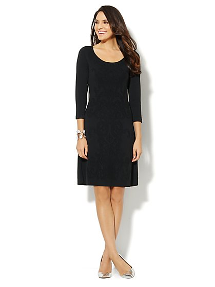Lace-Design Sweater Dress - New York & Company