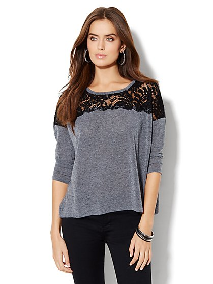 Lace-Detail Knit Top - New York & Company