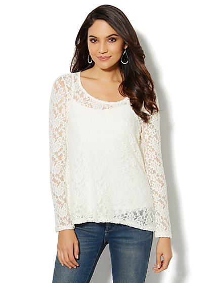 Lace Envelope-Back Top  - New York & Company