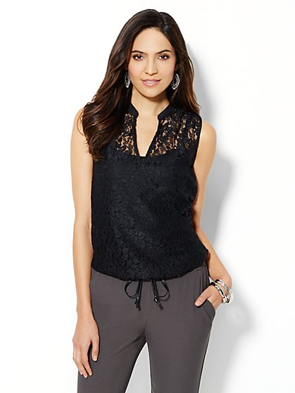 Lace Faux-Wrap Sleeveless Blouse - New York & Company