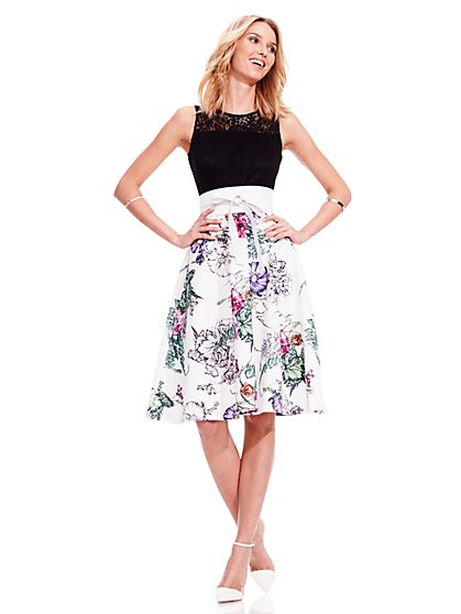 Lace Flare Dress - Floral  - New York & Company