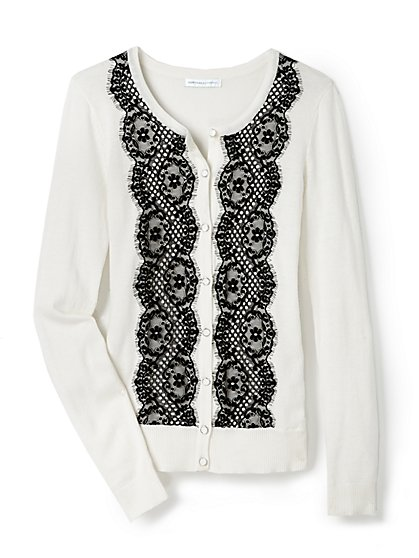 Lace-Front Cardigan  - New York & Company