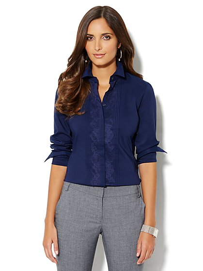 Lace-Front Pleated Shirt - New York & Company