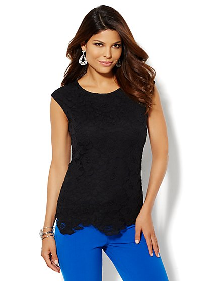 Lace-Front Sleeveless Top - New York & Company
