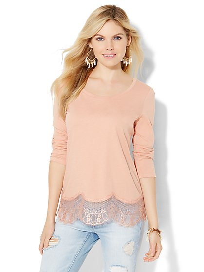 Lace-Hem Top  - New York & Company