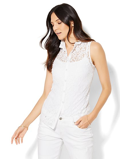 Lace High-Neck Blouse  - New York & Company
