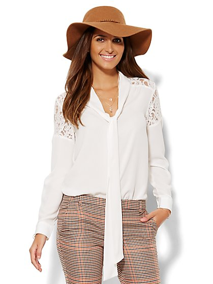 Lace Inset Bow Blouse  - New York & Company