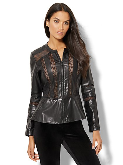 Lace-Inset Faux-Leather Jacket - New York & Company