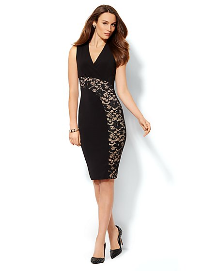 Lace Inset Sheath Dress  - New York & Company
