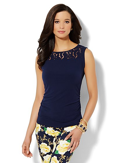 Lace-Inset Sleeveless Top  - New York & Company