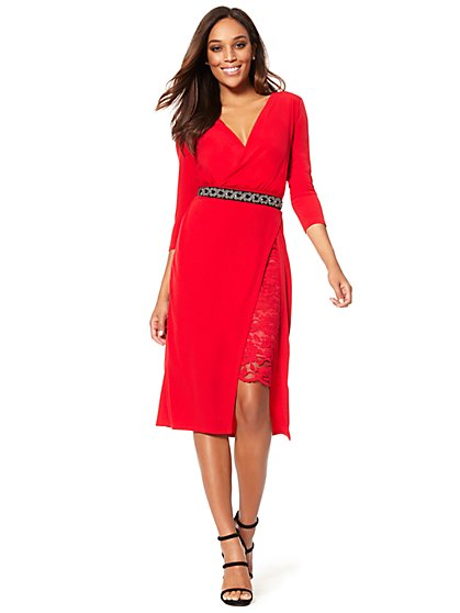 Lace Inset Wrap Dress - New York & Company