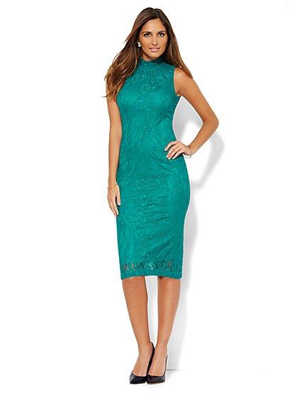 Lace Mock-Neck Dress - New York & Company
