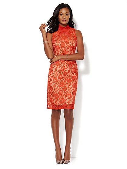 Lace Mock-Neck Dress - New York & Company