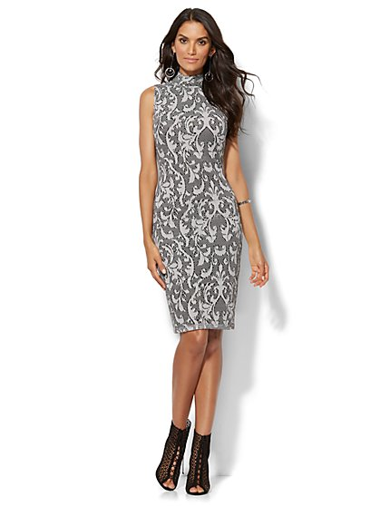 Lace Mock-Neck Sheath Dress  - New York & Company