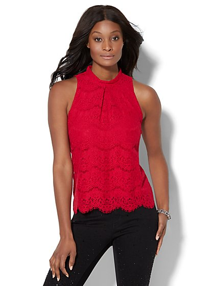 Lace Mock-Neck Shell  - New York & Company