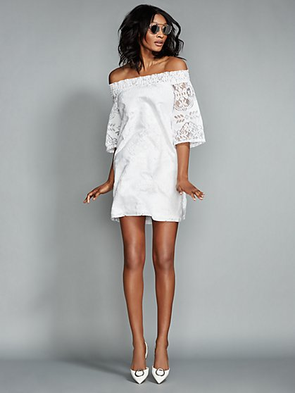 Lace Off-The-Shoulder Shift Dress  - New York & Company