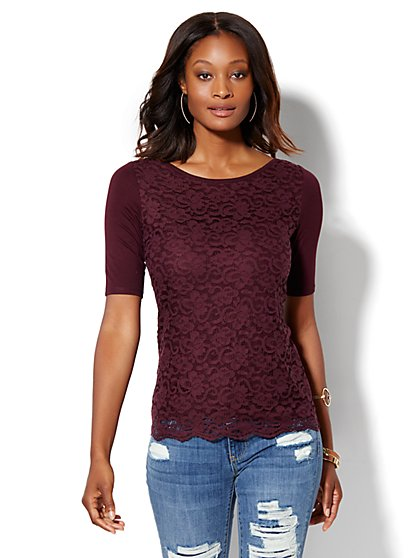 Lace Overlay Bateau-Neck Tee  - New York & Company