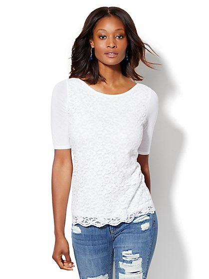 Lace Overlay Boatneck Tee  - New York & Company