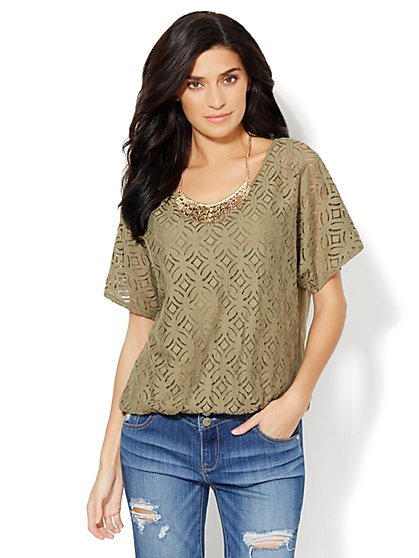 Lace-Overlay Dolman-Sleeve Top  - New York & Company