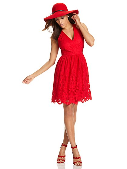 Lace Overlay Flare Dress  - New York & Company