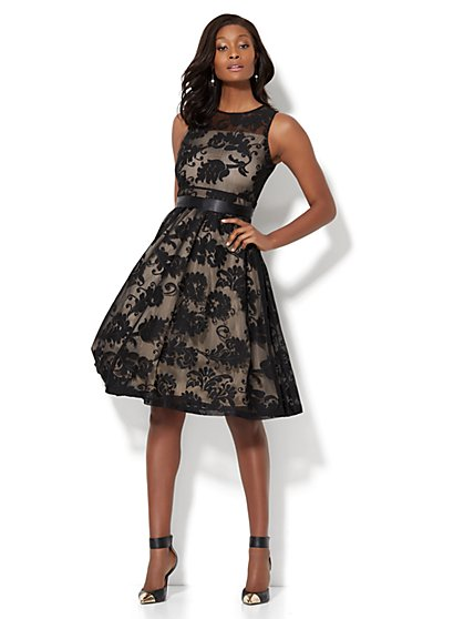 Lace-Overlay Flare Dress - New York & Company